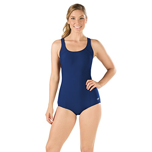 (Speedo Women's Conservative Ultraback PowerFLEX Princess Seam One Piece Swimsuit with Bust Support, Nautical Navy,)