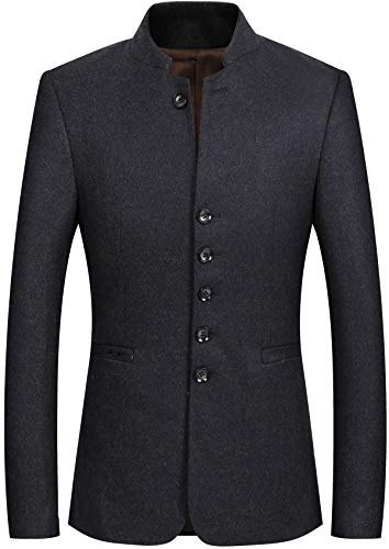 (Mandarin Collar Blazer Jacket for Men Smart Casual Wool Tweed Sports Jackets Slim Fit Brown)