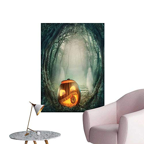 Wall Stickers for Living Room Big Scary Halloween Pumpk Mystic Twilight P y Themed Orange Teal Vinyl Wall Stickers Print,24
