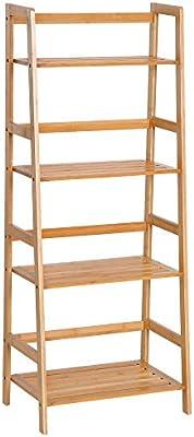 HOMCOM Estantería de Bambú 4 Niveles Estantería Escalera de Baño Librería Organizador Zapatero 48x30x119cm: Amazon.es: Juguetes y juegos