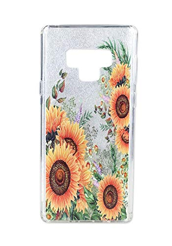 Ftonglogy Girls Clear Galaxy Note 9 Case with Flowers Pattern Design and Shock Absorption TPU Protective Cover for Samsung Galaxy Note 9 (2018) (Sunflower)