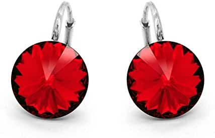 Sterling Silver Round Bright Red Made with Swarovski Crystals Leverback Earrings