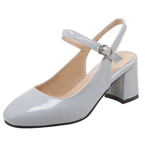 COOLCEPT Mujer Moda Correa de Tobillo Sandalias Tacon Ancho Slingback Cerrado Zapatos Tamano Gris