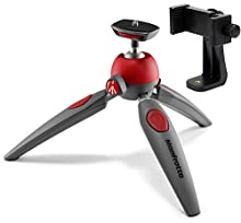 Manfrotto MTPIXIEVO PIXI EVO 2 Section Mini Tripod with A Bonus ZAYKiR Universal Smartphone Tripod Adapter (Red)