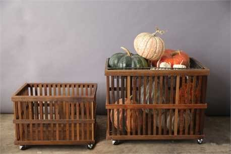 30''L x 20''W x 24''H & 25''L x 16''W x 18''H Wood Slatted Baskets On Casters w/ Metal Wire Tray, Set of 3