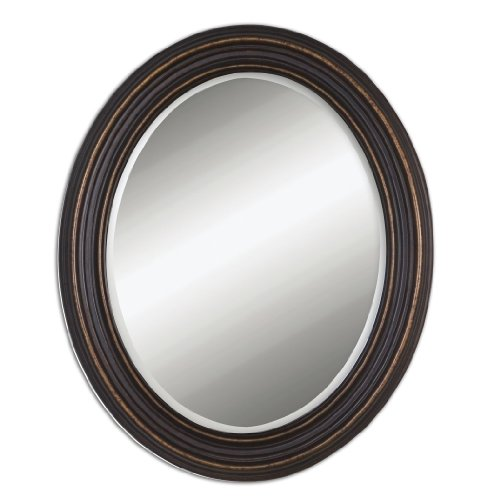 Zinc Decor Dark Oil Rubbed Bronze Beveled Oval Wall Mirror 34