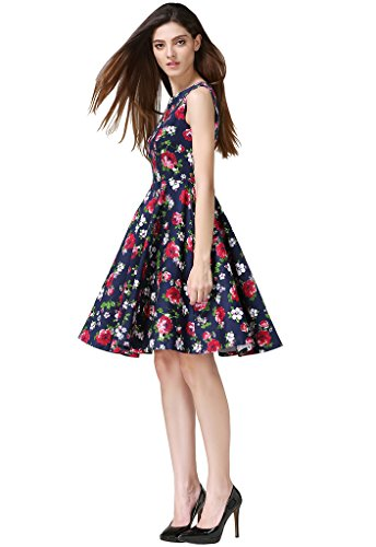 Swing Vintage Rockabilly Retro Dress Party 1950s Women's Ninos Printed Ball Buenos Navy xq6Szc