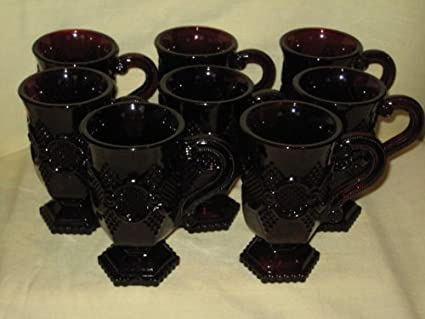 Amazoncom Set Of 8 Avon The 1876 Cape Cod Red Ruby Glass