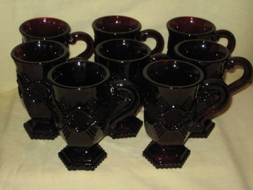 Set Of 8 - Avon - The 1876 Cape Cod Red Ruby Glass Collection - 8 Vintage 5 Inch Handled Pedestal Glasses / Mugs