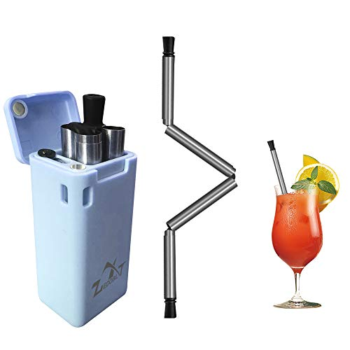 Reusable Straws,Edobil Stainless Steel Drinking Collapsible Straws with Cleaning Brush Perfect for 30oz / 20oz Tumblers Yeti (Blue)