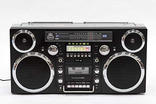 GPO Brooklyn Bluetooth Boombox 80W CD Cassette FM USB (Black) -