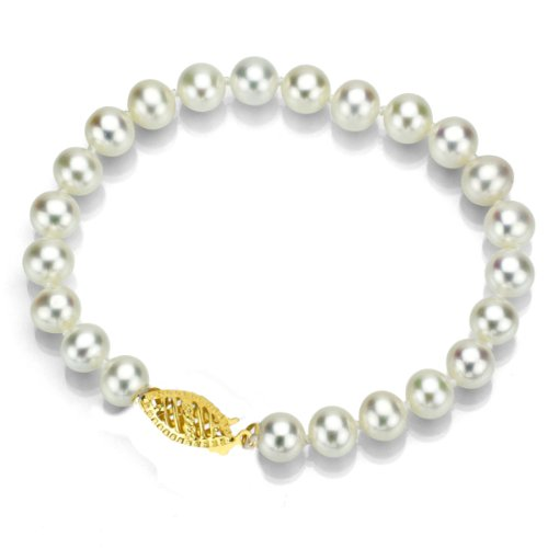 White Akoya Cultured Pearl Bracelet for Teen Girls Jewelry 14K Gold 6.5-7mm 7.5 inch ()