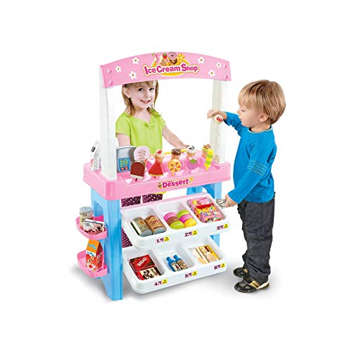 Ice Cream & Sweets Food Cart - The Original (Colorful and Beautiful Grocery Store Playset with Scanner, Great Gift for Girls and Boys - Kids Toy Best for 3, 4 Year Olds)