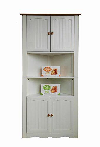 Oak Hutch China (Homecharm-intl 31.1x15.74x63.78-Inch Corner Cabinet ,White(HC-003A))
