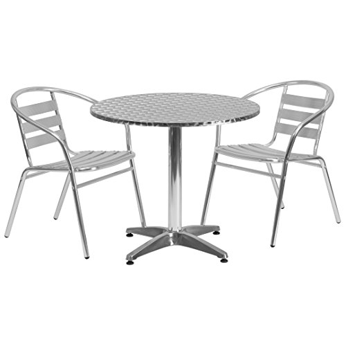 MFO 31.5'' Round Aluminum Indoor-Outdoor Table with 2 Slat Back Chairs
