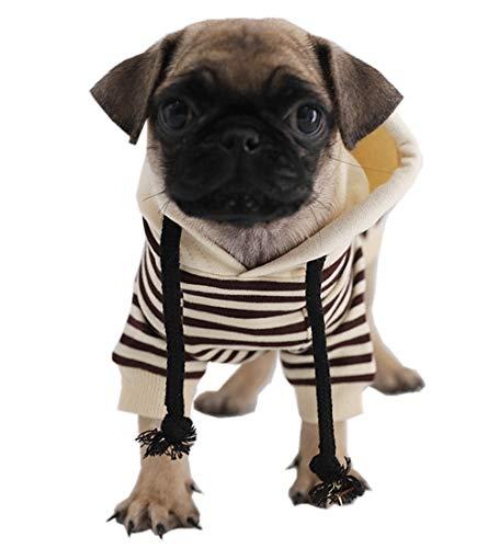 Kitipcoo Dog Pullover Hoodie for Small Dogs, DogStripedShirt Dog Clothes Dog Apparel for Pug Bulldog Corgi Schnauzer Poodle