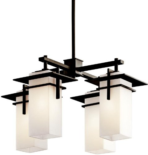Kichler 49638OZ Caterham Indoor/Outdoor Chandelier 4-Light, Olde Bronze