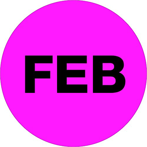 Ship Now Supply SNDL6736 Tape Logic Months of the Year Labels, 'FEB', 2' Circle, Fluorescent Pink (1 Roll of 500 Labels)