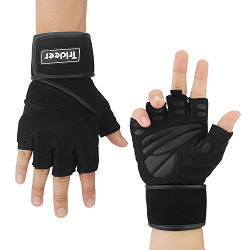 "ng Gloves with 18"" Wrist Wraps Support, Pro Padded Gym Gloves for Powerlifting, Cross Training, Workout, Best for Men & Women (PAIR) (Black, S (Fits 6.7-7.5 Inches)) (Wrist Gloves)"