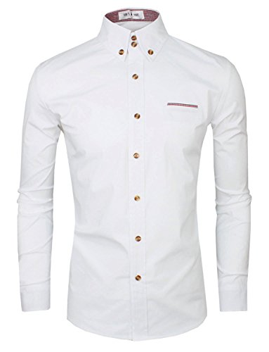 Tom's Ware Mens Premium Casual Inner Contrast Dress Shirt TWNMS315S-WHITE-US M