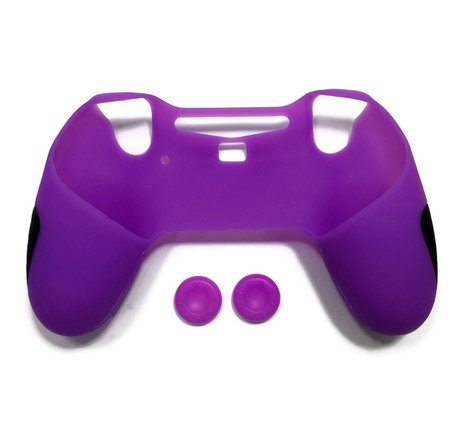 Purple Fanta Girl Costume (Silicone Thicker Half Skin Cover for PS4 PlayStation 4 Controller Set ( Skin X 1 + Thumb Grip X 2), Purple)