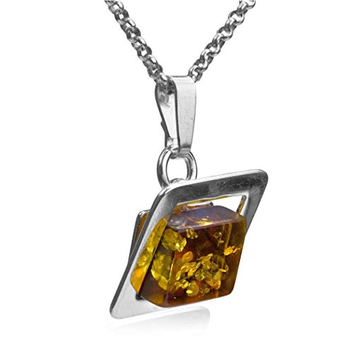 Amber Sterling Silver Modern Square Pendant Necklace Chain 18