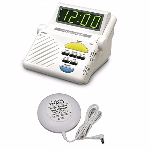 Sonic Alert SB1000 Sonic Boom Loud Vibrating Alarm Clock with Built In Receiver With Bed - Sonic Alert Clock