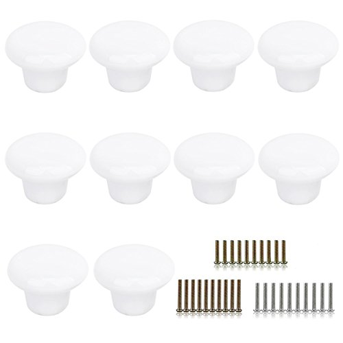 (Marstree 10pcs Vintage Ceramic Door Knobs Round Shape Drawer Cupboard Locker Pulls Handles Wardrobe Drawer Cabinet Home Kitchen Hardware (White))