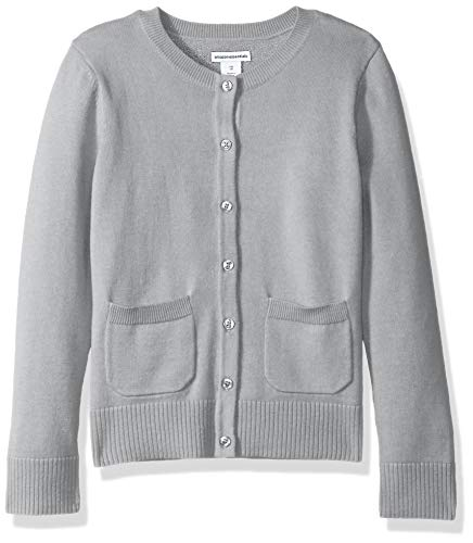 (Amazon Essentials Little Girls' Uniform Cardigan Sweater, Light Heather Grey, M)