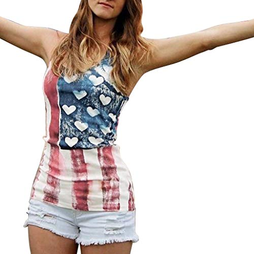 Berryhot Women USA American Flag Tank Top Lace Independece Day Loose Fit Sleeveless Patriotic 4th July T Shirts