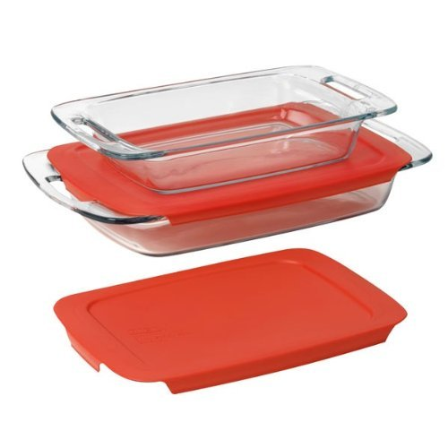 Piece 3 Baking Dish - Pyrex Easy Grab 4-Piece Value Pack, Includes 1, 3-Qt Oblong, 1, 2-Qt Oblong, With Red Plastic Covers