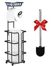 Toilet Paper Holder Toilet Paper Stand Toilet Paper Roll Holder Black Toilet Paper Holder with Shelf for 3 Spare Mega Rolls Free Standing Bathroom Organizer