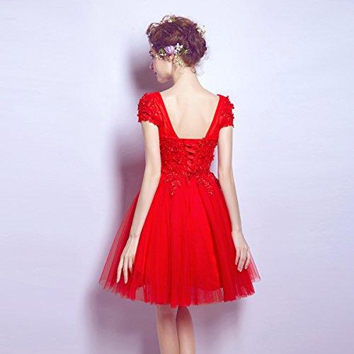 Corto Abito Da Con Perline Prom Vestito Corte Appliques Botong Cocktail Rosso Maniche t7qa6xfw