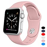 Youther For Apple Watch Bands,Soft Silicone Strap Replacement Wristbands for Apple Watch Sport Series 3 Series 2 Series 1 Pink 38mm S/M