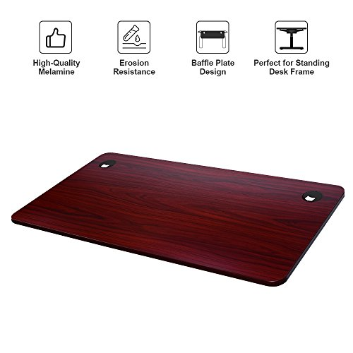 Sunon CD718 Adjustable Desk Top-55 x 27.5 Inches Nice Smooth Finish Surface with Wire Management Grommet, Durable Strong Office Desktop Standing Frame Maximum Hold 330 lbs, Table Top Mahogany-01