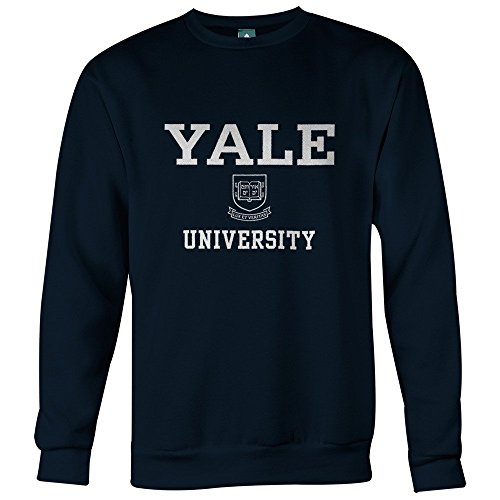Yale University Sweatshirt by Ivysport - Crest Logo, 90% Cotton 10% Polyester, Navy, Crewneck Sweatshirt, X-Large (Logo Polyester University)