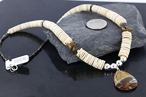 $340 Retail Tag Authentic Made by Charlene Little Navajo Silver Graduated Melon Shell and Tigers Eye Heishi Disk Native American Necklace (Graduated Turquoise Disc)