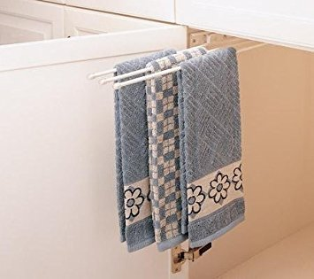 Rev-A-Shelf 3-Prong Pullout Towel Bar Sink Base Organizers, White
