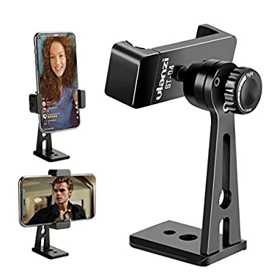 Ulanzi ST-04 Aluminum Phone Tripod Mount Adapter/Vertical Video Bracket Cell Phone Clip 360 Degree Smartphone Video Tripod Clamp iPhone 8 Plus Samsung Android Instagram IGTV Livestreaming