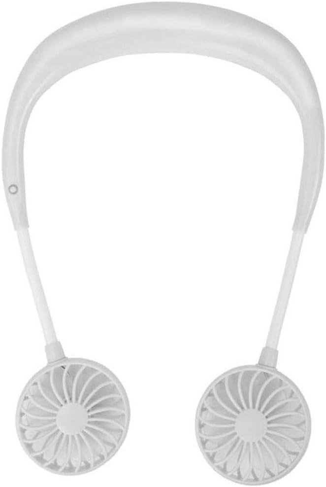 Chezaa USB Rechargeable Fan Dual Cooling Fan Portable Neck Hanging Style Fan 360 Degreen Rotation Fan