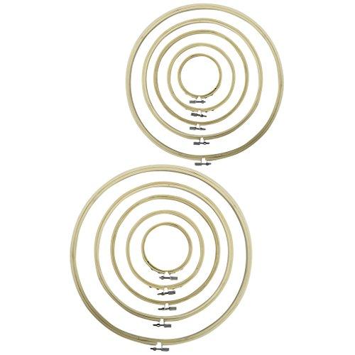 CurtzyTM 10 teiliges Stickrahmen Set aus Bambus Holz Handgefertigt Nähen Sticken Handarbeiten Rahmen