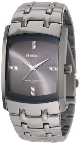 (Armitron Men's 20/4507DSDS Swarovski Crystal Dial Dark Silver-Tone Bracelet Watch)