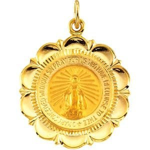 14k Yellow Gold Miraculous Medal 25x21mm - JewelryWeb