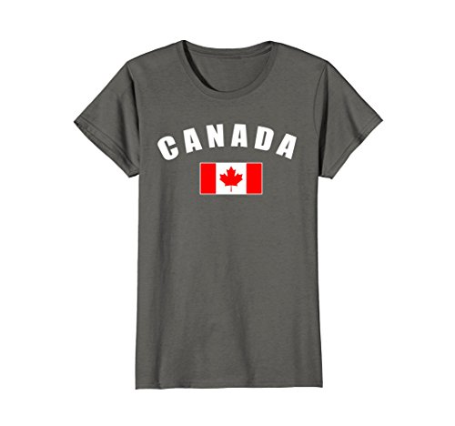 - Womens Canada T-shirt, Canadian National Country Flag Shirt Large Asphalt