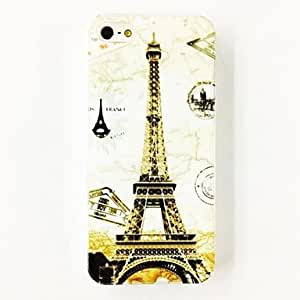 GHK - Pairs Eiffel Tower Stamp Pattern Plastic Hard Case for iPhone 5/5S , Multicolor