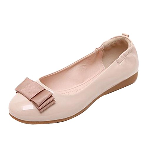 Binying Women's Casual Bowknot Leather Flat Pumps apricot ACG0ERV