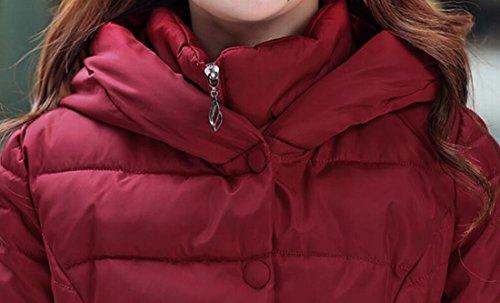Delle Parka Solida Slim Con Donne Giù Piumini Rosso Vino Inverno Cappuccio Fit Mu2m Cappotto dwORdq6