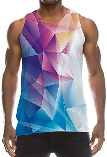 3D Print Muscle Athletic Fit Tank Top Cool Extended Undershirt Tees Bright Colorful Maroon Geometry Triangle Math Pattern Classic Elongated Vest Shirt for Causal Wear Joke Gag Gift