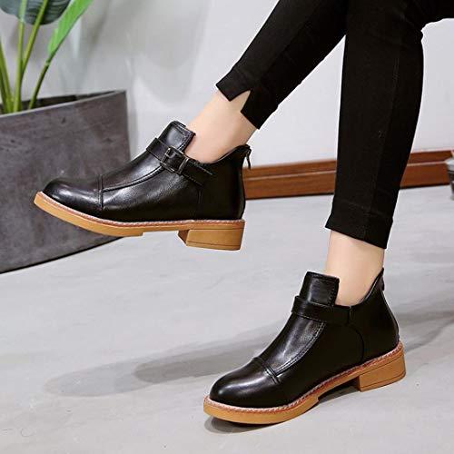 Noir Bottes Sanfahion Lacets Chic À Mode Martin Femme Vintage Casual Chaussures Bottines Boho qqpn7FrwS