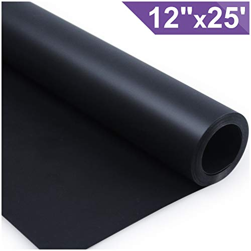 ARHIKY Heat Transfer Vinyl HTV for T-Shirts 12Inches by 25 Feet Rolls(Black)